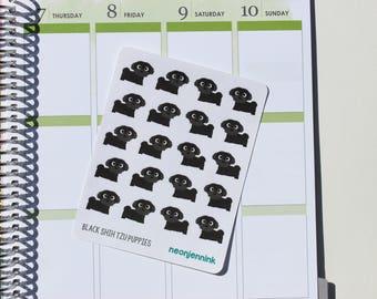 Black Shih Tzu Puppy Stickers (Set of 20 Stickers)