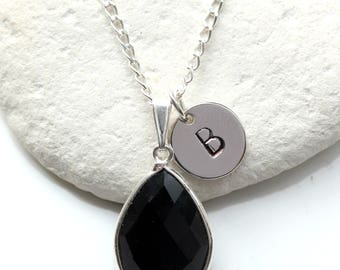 Black Onyx Teardrop Quartz Bezel Necklace with Personalised Initial Letter Pendant on Sterling Silver Chain - FREE SHIPPING - GG1 - Q15
