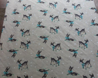 Vintage SILK Fabric Continuous Roll of 60 in x 3 yards Deer Print