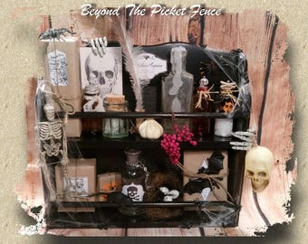 Halloween Decor*Decoration*Apothecary Shelf Display*Witches Brew*Bats*Spiders*Potions*Spells*Skulls*Skeletons