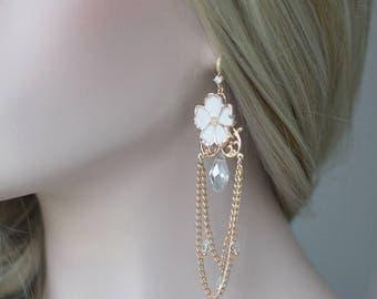 Gold Earrings, Wedding Earrings, Bridal Earrings, Crystal Chain Earrings, Flower Earrings, Wedding Jewelry,