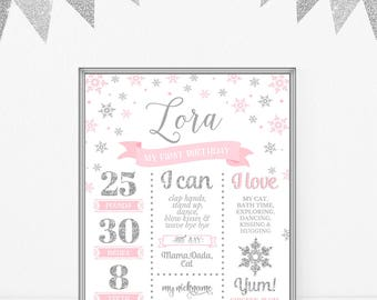 Winter Birthday Milestone Sign First Birthday Poster Milestone Board Girl Birthday Party Decor Baby Infographic Pink And Silver DIGITAL