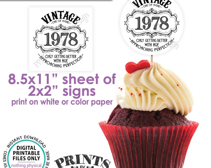 """1978 Vintage Birthday Aged to Perfection Liquor Theme Birthday Better with Age, Cupcake Topper, Instant Download PRINTABLE 2x2"""" on 8.5x11"""""""