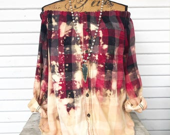 SIZE MEDIUM - Off Shoulder Distressed Flannel - Oxy Flannel - Shoulder Flannel - Distressed Flannel - Bleached Flannel #3