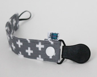 Pacifier clip, Grey, White, Swiss crosses, Plus sign, Snap, Binky holder, Dummy keeper, Soother leash, Cute Baby Shower Gift