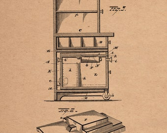 Kitchen Cabinet Patent # 295120 dated March 11, 1884.