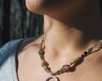 Graduated Watermelon Tourmaline + Thai Hilltribe Silver Necklace with Tribal Spiral Pendant
