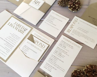 Neutral Wedding Invitations, Gold Glitter Wedding Invitations, Gold and Ivory Wedding Invitations, Shimmer Pocket Wedding Invitations