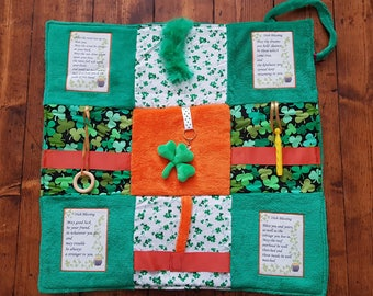 Fidget Blanket ~ 'The Emerald Isle' ~ Busy Blanket ~ Sensory Activity Lap Quilt for Dementia, Alzheimer's, Stroke and Brain Trauma ~