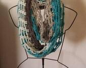 Aqua Grey Ice Blue mesh infinity winter cold weather scarf unisex accessory