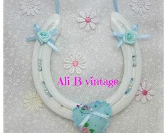 Wedding horseshoe bridal horseshoe wedding gift traditional wedding gift lucky horseshoe wedding keepsake blue heart just married recycled
