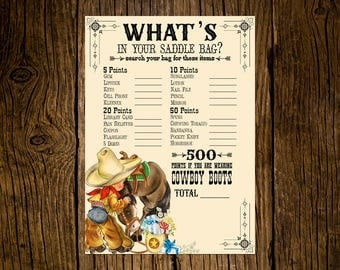 Cowboy Baby Shower Game Cards Custom Printed Handmade Set of 12 Horse Pony Wildflowers Vintage Ecru Rustic Western