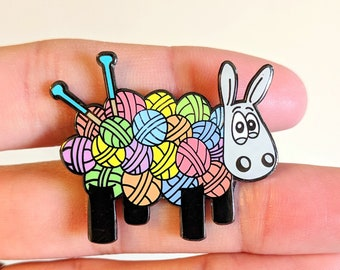 Ewe knit!, Cute sheep enamel pin, pin badge, Knitters gift, Knitting gift, lapel pin, funny badge, cute badge, Yarn, Sheep gift, Wool gifts