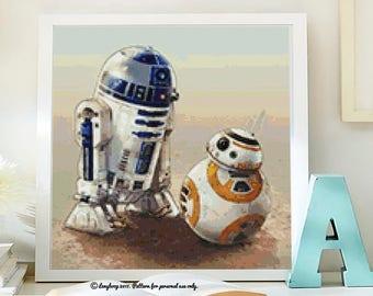 Star Wars cross stitch modern pattern. patrón Star Wars punto de cruz. R2D2 & BB8 cross stitch.