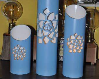 Set of Three Blue PVC Votive Lanterns with Rose Petals