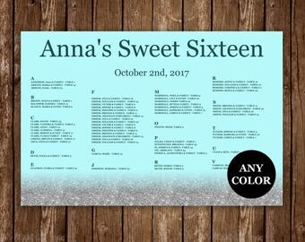 Sweet Sixteen Silver Seating chart, Light Blue Cinderella Theme,  Wedding seating chart, Printable seating chart, Any color available - S032