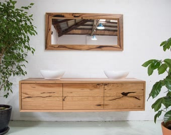 Recycled timber double vanity - 6 drawer