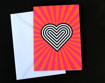 Pop art heart greeting card, anniversary card, heart art, wedding card, hypnotic heart card, art love card, lovers greeting card, 4x6 card