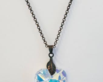 Swarovski Crystal  28 mm Aurora Borealis  Heart Necklace with Vintage Chain