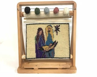 "NATIVITY : Hand made Turkish  Nativity  Carpet on it's  Own Loom ( Height 13"" x Wide 11"" ) 33cm x 28cm"