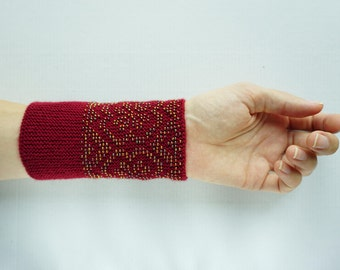 Crimson and gold beaded wrist warmers/ knitted wristlets with beads / woollen cuffs –ready to ship