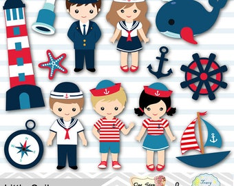 Instant Download Little Sailor Digital Clipart, Sailing Clip Art, Nautical Party Clip Art, Navy Clip Art, Sailor Boy Girl Clip Art 0219