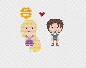 Rapunzel and Flynn Cross stitch - Disney Tangled Cross stitch pattern - PDF Instant Download