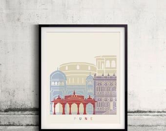 Pune skyline poster - Fine Art Print Landmarks skyline Poster Gift Illustration Artistic Colorful Landmarks - SKU 2528