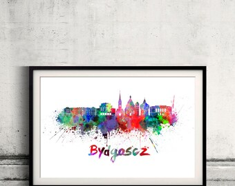 Bydgoszcz skyline in watercolor over white background with name of city - Poster Wall art Illustration Print - SKU 2792