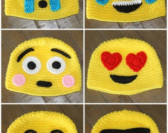Emoji Crochet Hats - Handmade to Order - Newborn to Adult