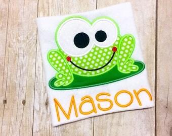 Boys Monogram Frog shirt or bodysuit - Green Frog Shirt - Lilypad - Boys Summer shirt