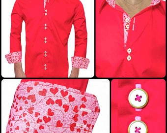 Red and Pink Valentines Day Dress Shirts - Made To Order in USA