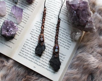 Broomstick Necklace, Witches Broom, Kyanite Broom, Witchy Necklace, Kyanite Broomstick, Black Kyanite, Moonstone Necklace, Wicca Necklace