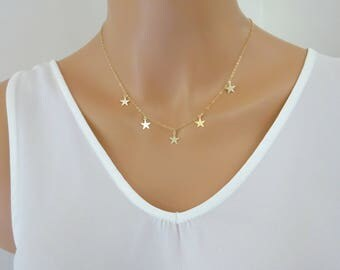 Star necklace, 14K Gold fill necklace, Gold Star Choker Necklace, Sterling Silver star Choke,  Bohemian Jewelry, Layering Necklace