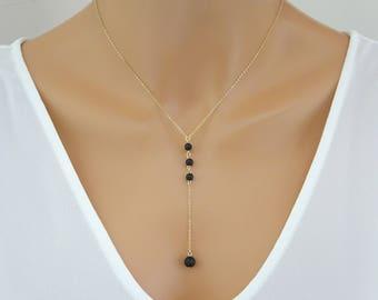 Lava necklace, Simple Lava stone lariat necklace, Aromatherapy necklace, Diffuser bracelet, Bridesmaid necklace, Minimalist necklace