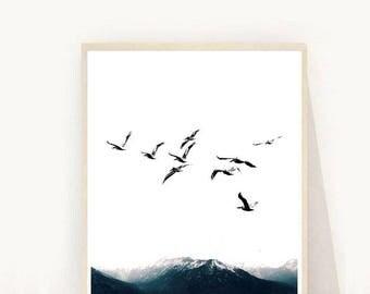Birds Print, Flying Birds Print, Minimalist Print, Flock Of Birds, Printable Art, Wall Art, Instant Download