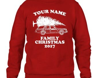 Personalised with Your Name Family Christmas Sweater Jumper Ugly Men Women Kids 2017 Griswold National Lampoons Vacation Custom Surname