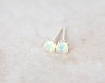 Opal Earrings, Ethiopian Opal Stud Earrings, 3mm Opal Silver Studs, Opal 14K Gold Filled Earrings, Opal Studs
