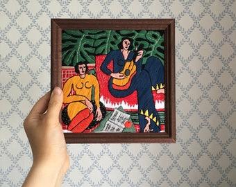 "Embroidered frame ""La Musique"""