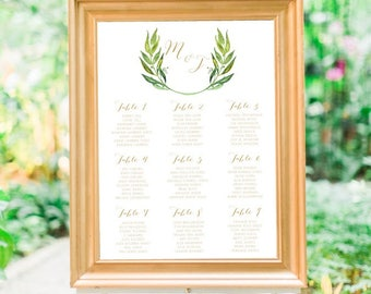 Personalised Printable, Wedding Seating Chart, Wedding Table Plan - Marcella Collection
