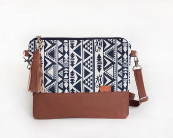 Gift for her Blue Native Bag Crossbody Bags Handbags Christmas Gifts Mothers gift Aztec Cross body bag - A1