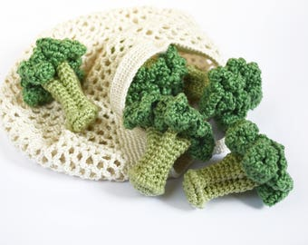 Crochet Broccoli (1pc) Crochet vegetables Play food Broccoli toy Teething Toy Play kitchen Pretend play Vegetable toy  Play vegetables