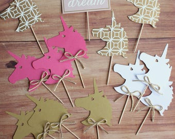 Unicorn Cupcake Toppers -Set of (22)