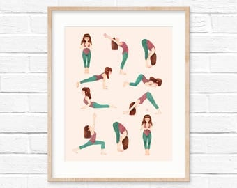 Yoga wall art | yoga illustration of sun salutation asanas | yoga print | yoga lovers | yoga illustration | asanas | meditation art | peace