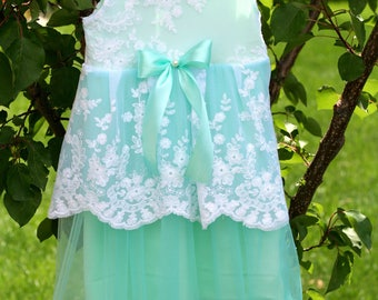 Mint green girl tulle dress, floral lace dress, baby girl dress, sitter size, photo props, photography props, baby photography, hydrangea