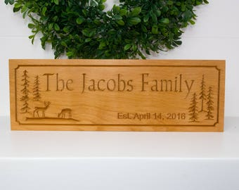 Beech Wood Family Name Established Sign w/ Trees and Deer - Carved Wood Sign