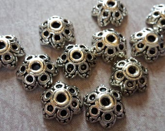 bead caps, caps, ethnic dishes, end caps beads, silver, brass 8 x 4 mm