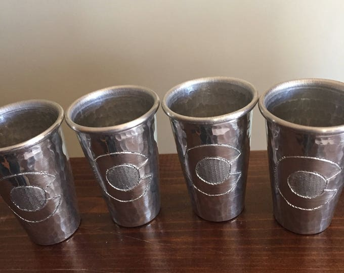 "4-pack of 2oz hammered aluminum shot glasses with Colorado ""C"" engraved"