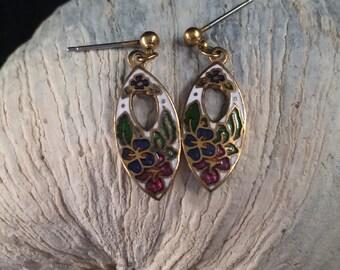 Gold tone drop Cloisonne Enamel Earrings