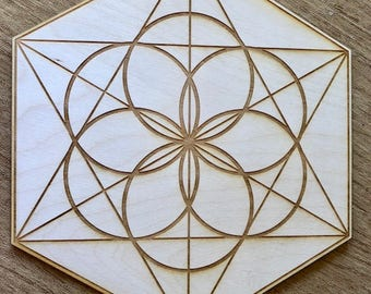 Seed of Life Crystal Grid -  - 3, 6, 9, or 12 Inches - Wooden Crystal Grid - Sacred Geometry - Wood Crystal Grid